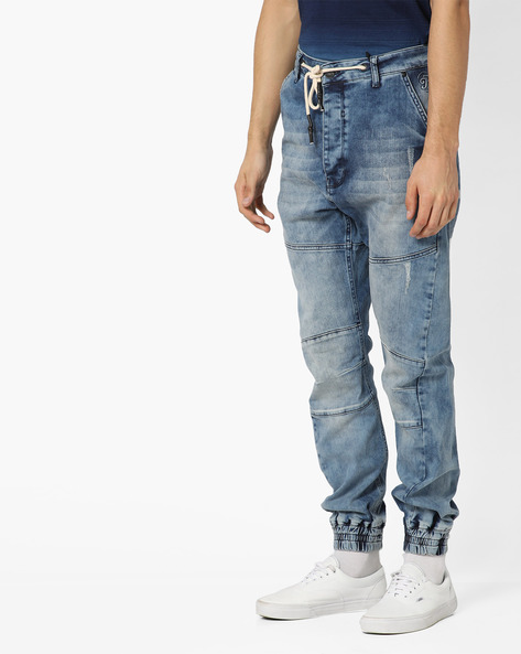 Mid-Rise Washed Jogger Jeans By Just Rhyse ( Blue )