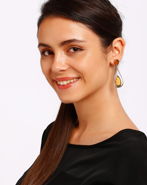 Gold-Plated Drop Earrings By Ssoul ( Yellow )