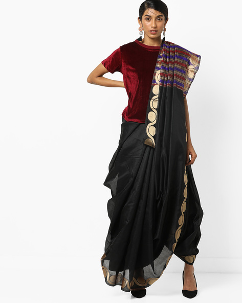 Printed Saree With Contrast Border By Florence ( Black )