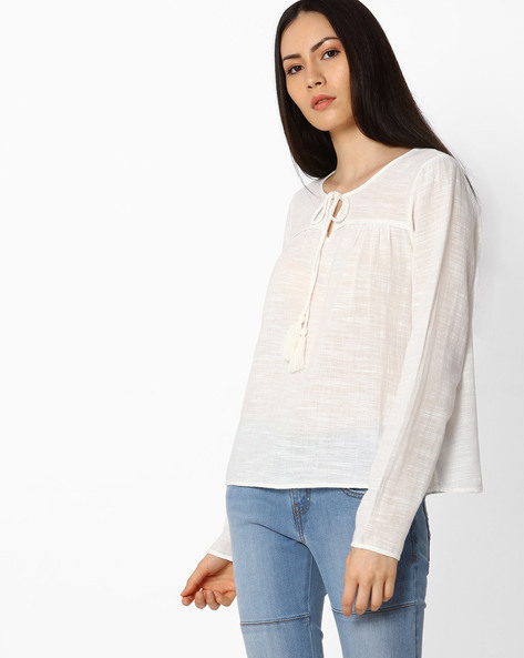 Pure Cotton Peasant Top By Vero Moda ( White )