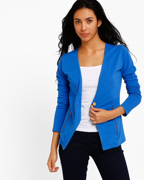 Single-Breasted Jacket By Style Quotient By Noi ( Blue )