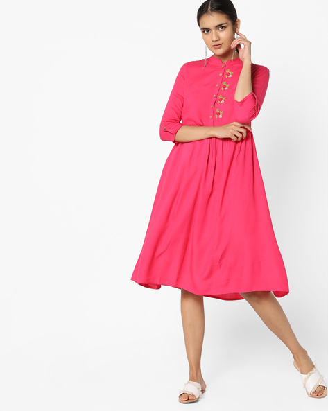 Fit & Flare Dress With Embroidery By AJIO ( Fuchsia )