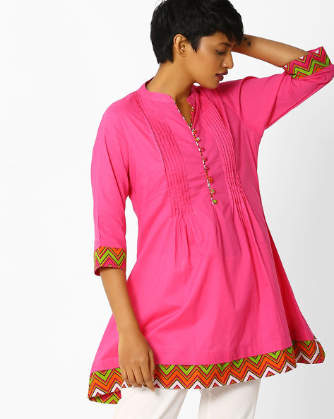 Cotton Tunic With Pintucks By Shree ( Pink )