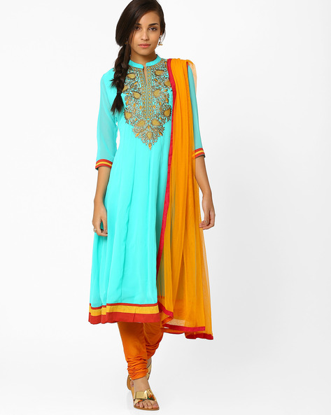 Kalidar Churidar Kurta With Dupatta By AJIO ( Blue )