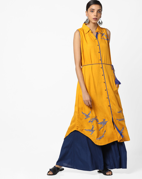 Embroidered Straight Kurta With Waist Tie-Up By Bitterlime ( Mustard )