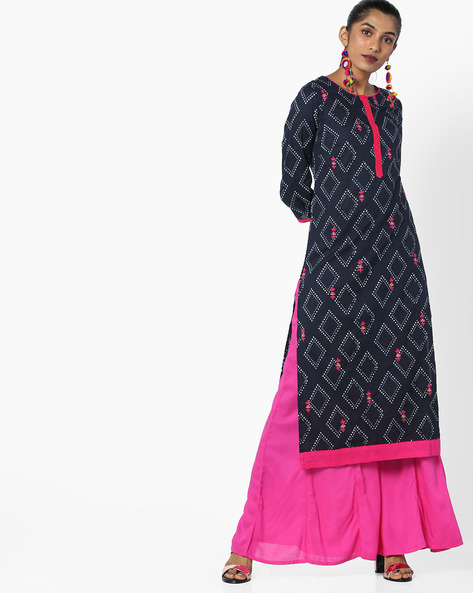 All-Over Print Straight Kurta By AJIO ( Indigo )
