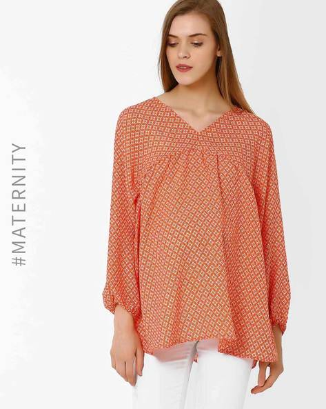 Printed Maternity Top By Oxolloxo ( Orange )