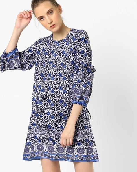 Floral Print Shift Dress With Tie-Up Sleeves By Oxolloxo ( Navy )