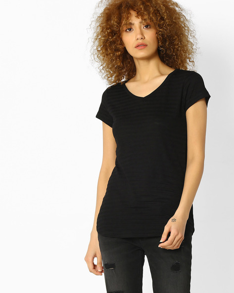 Self-Striped V-Neck Top By Fame Forever By Lifestyle ( Black )