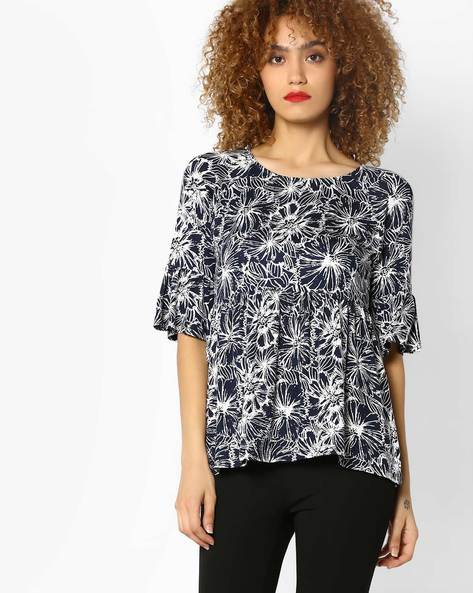 Floral Print Top With Bell Sleeves By AJIO ( Navyblue )