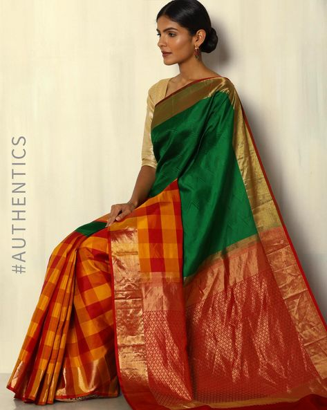 Handloom Arani Half-Half Checked Pure Silk Saree By Pretty Woman ( Green )