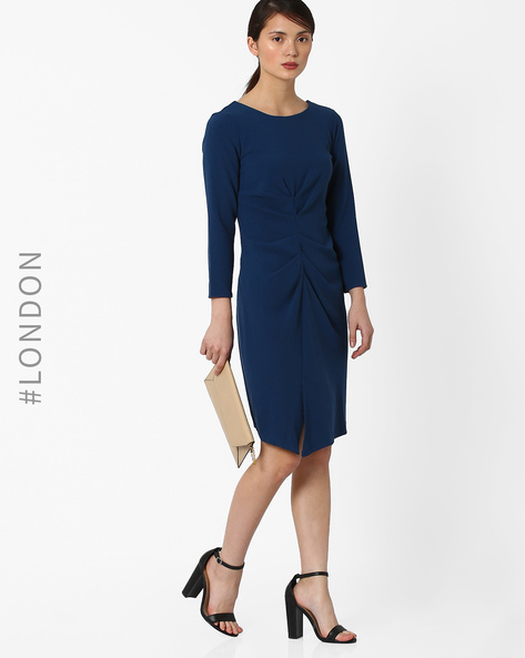 Ruffled Dress With Zip Closure By Closet London ( Navyblue )