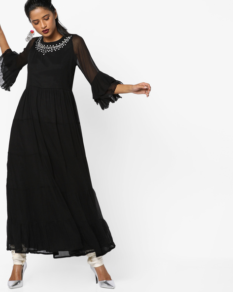 Tiered Flared Kurta With Bell Sleeves By Rain & Rainbow ( Black )