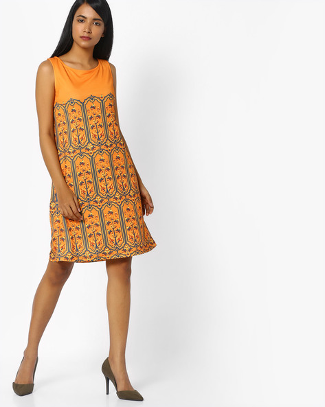 Printed Sleeveless Dress By COLOUR ME ( Orange )