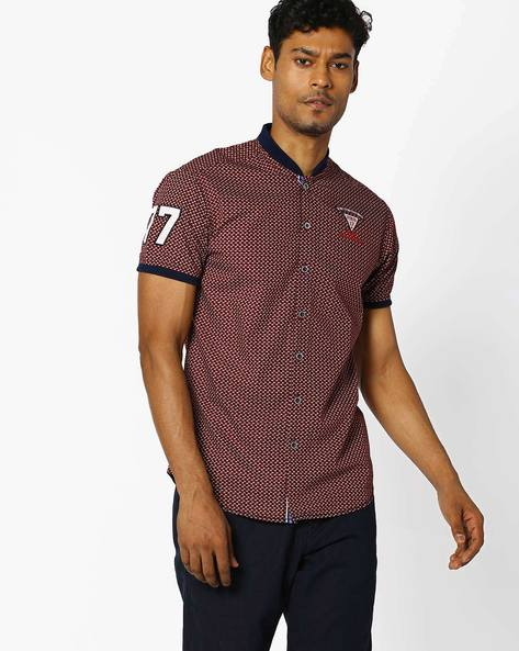 Printed Slim Shirt With Band Collar By The Indian Garage Co ( Maroon )