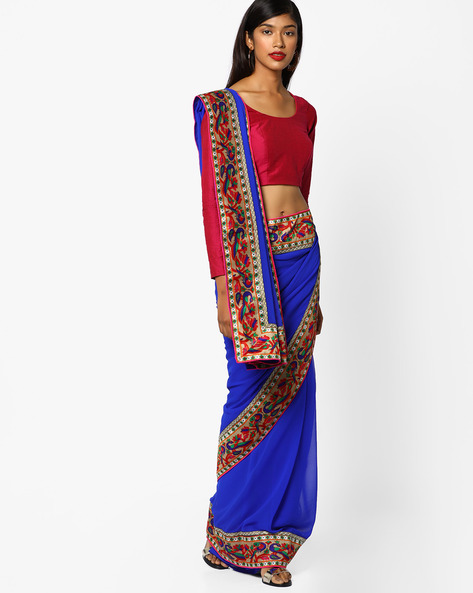 Georgette Saree With Paithani Border By CHHABRA 555 ( Blue )
