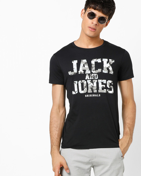 Slim Fit Printed Crew-Neck T-shirt By Jack & Jones ( Black ) - 460185834006