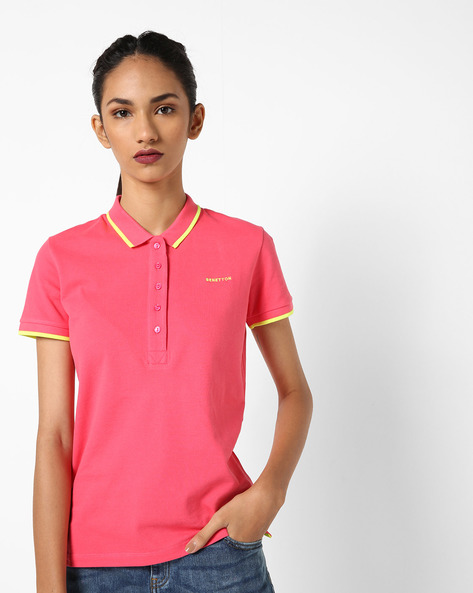 Polo T-shirt With Contrast Tipping By UNITED COLORS OF BENETTON ( Red )
