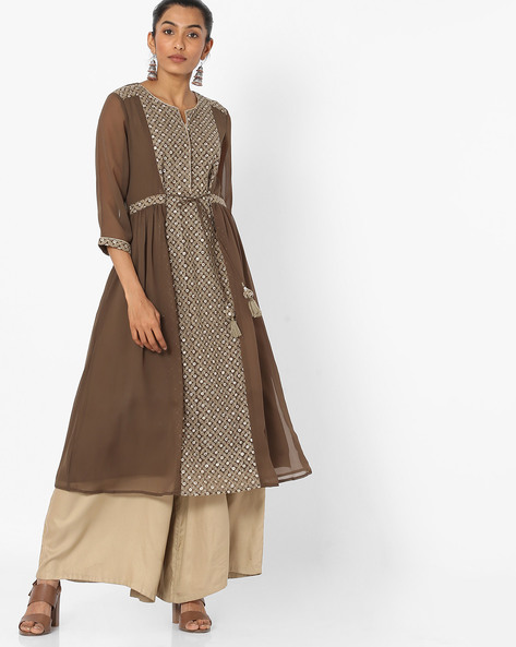 Panelled Kurta With Waist Tie-Up By Melange By Lifestyle ( Olive )