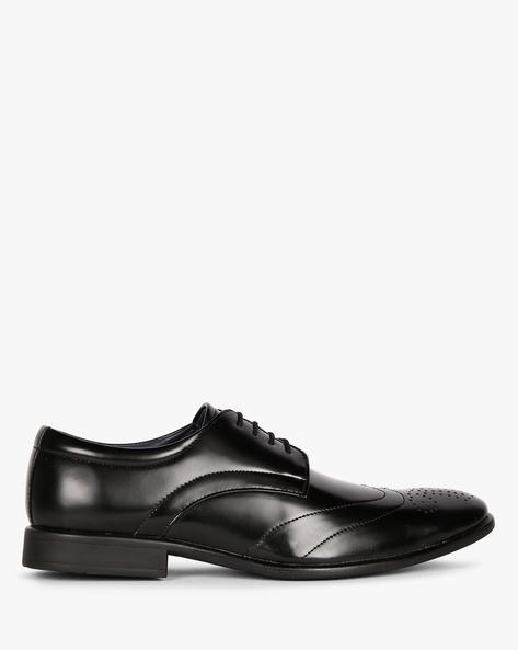 Wingtip Derby Shoes With Broguing By ESCARO ( Black )