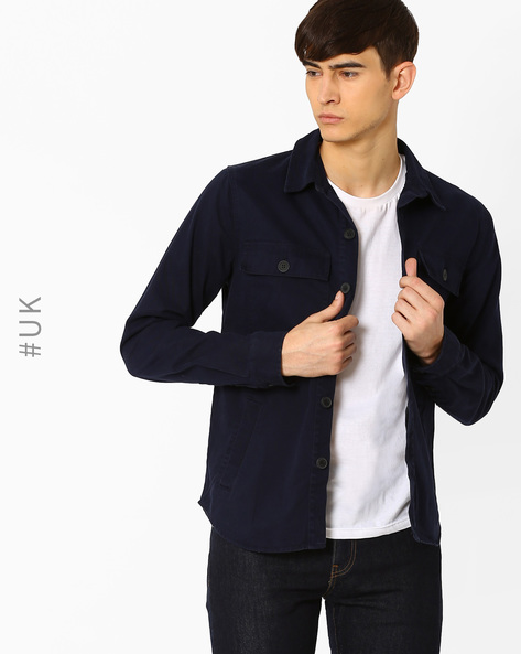 Regular Fit Shacket With Curved Hem By Another Influence ( Navy )