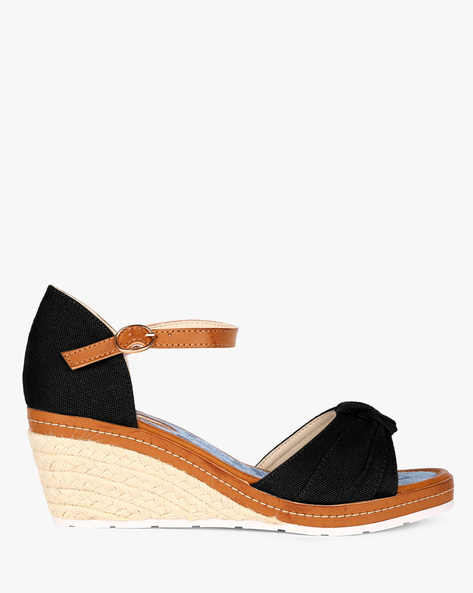 Knotted Open-Toe Wedges With Ankle Strap By AJIO ( Black )
