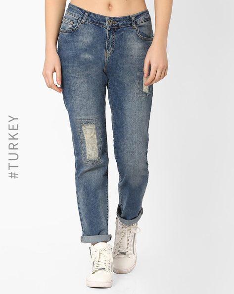 Lightly Washed Distress Jeans By BATIK ( Blue )