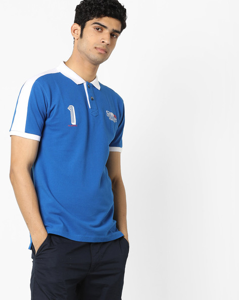 Polo T-shirt With Contrast Collar By Teamspirit ( Blue )