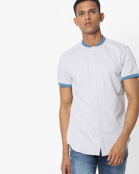 Slim Fit Shirt With Contrast Collar By Jack & Jones ( Grey )