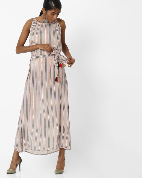Striped Maxi Dress With Cutaway Neckline By COLOUR ME ( Pink )