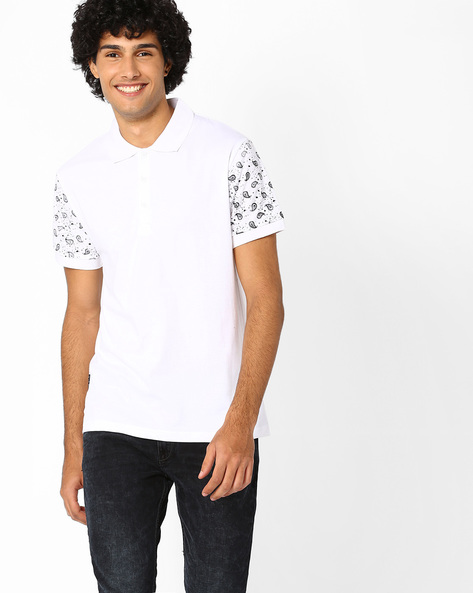 Polo T-shirt With Printed Sleeves By Blue Saint ( Multi )