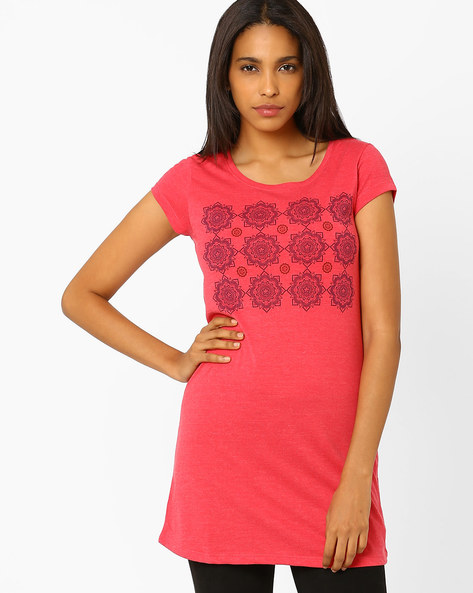 Graphic Print T-shirt By Ajile By Pantaloons ( Red ) - 460020853003