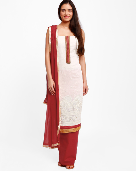 Embroidered Dress Material With Dupatta By Lookslady ( Offwhite )