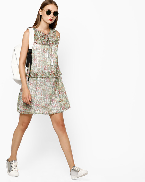 Floral Print Shift Dress With Ruffles By AJIO ( Offwhite )