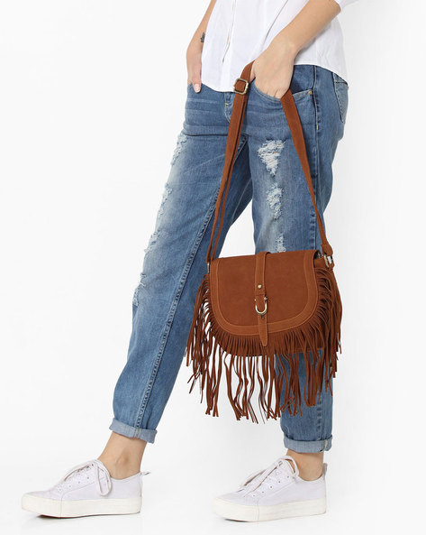 Sling Bag With Fringes By Lino Perros ( Brown )