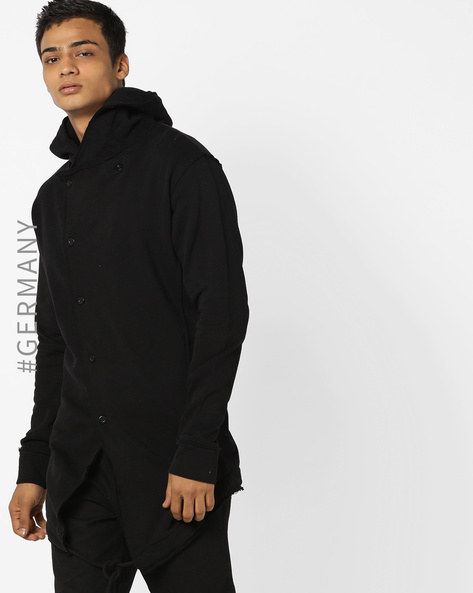 Button-Down Hooded Cardigan With Tie-Up By Just Rhyse ( Black )