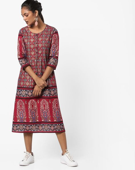 Printed A-line Kurta By Melange By Lifestyle ( Red )