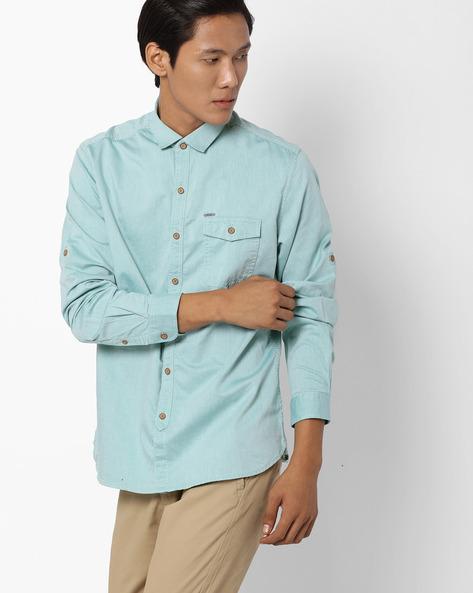 Pinstripe Regular Fit Shirt By NETPLAY ( Green )