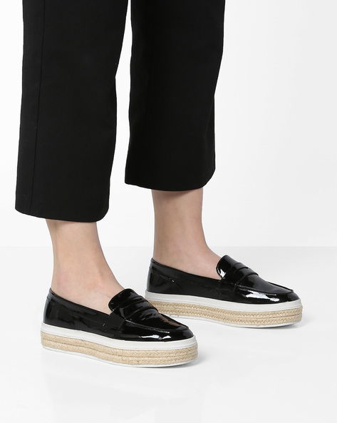 Flatform Loafers With Braided Midsole By Carlton London ( Black )