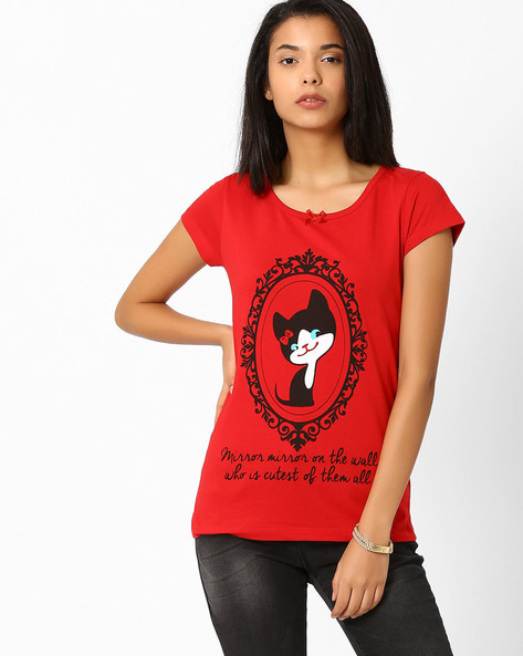 Graphic Print T-shirt By Ajile By Pantaloons ( Red )
