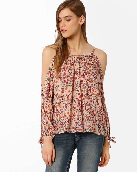 Floral Print Cold-Shoulder Top By Oxolloxo ( Multi )