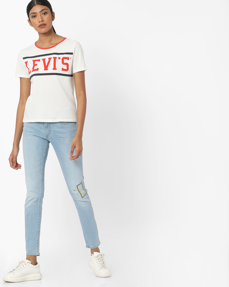 711 Skinny Fit Distressed Jeans By LEVIS ( Blue )