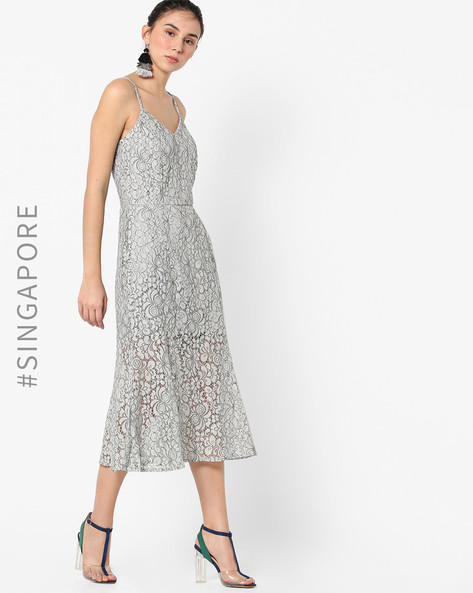 Strappy Lace Dress By MDS ( Grey )