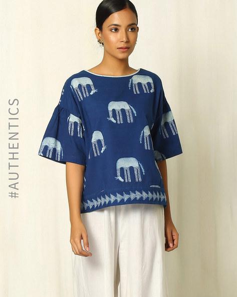 Handblock Animal Print Indigo Cotton Top By Indie Picks ( Indigo )