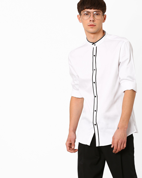 Shirt With Band Collar By British Club ( White )
