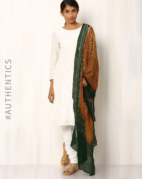 Pure Silk Crepe Bandhini Dupatta By Rudrakaashe-MSU ( Green ) - 460018593001