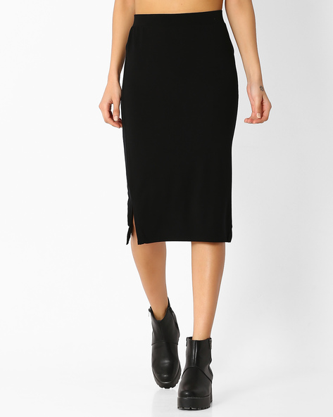 Pencil Skirt With Side Slits By BOSSINI ( Black )