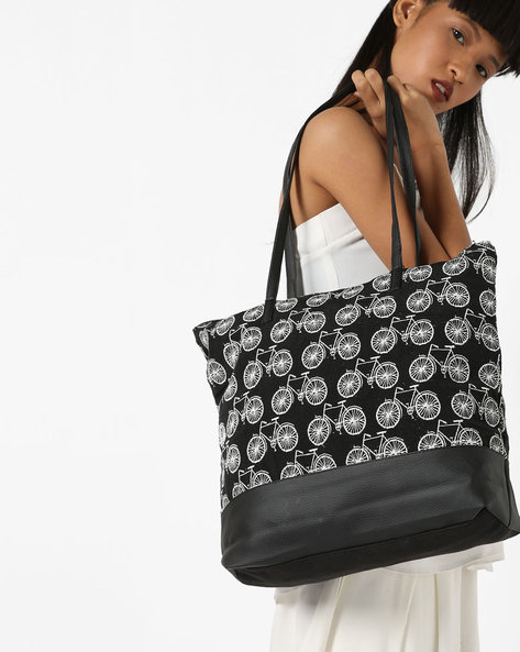 Jacquard Tote Bag By Kanvas Katha ( Black )