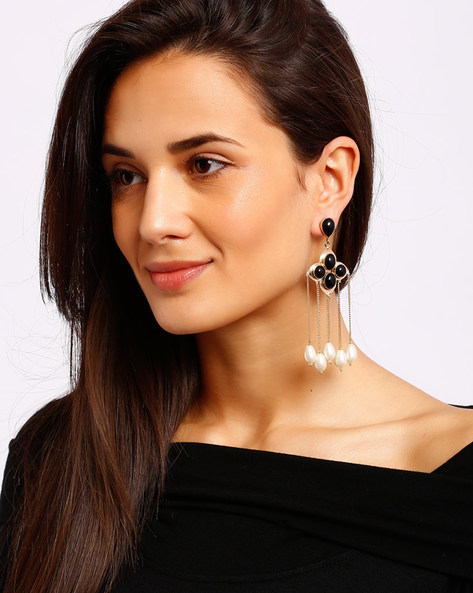 Gold-Plated Drop-Earrings With Tassels By Ssoul ( Black )