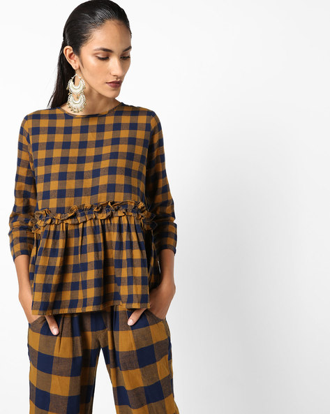 Cotton Checked Peplum Top By Evah London ( Mustard )
